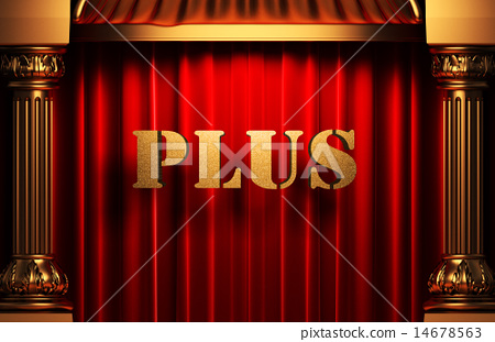 plus golden word on red curtain 14678563