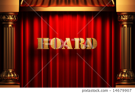 hoard golden word on red curtain 14679907