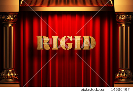 rigid golden word on red curtain 14680497