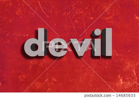 devil word on red wall stock illustration 14685633 pixta pixta