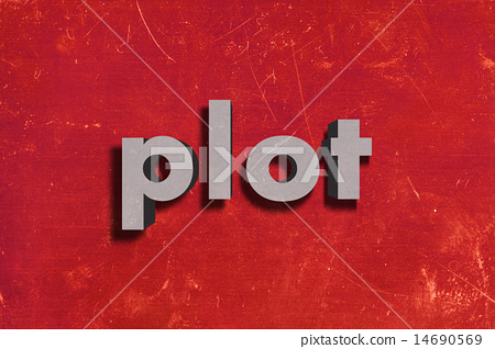 plot word on red wall 14690569