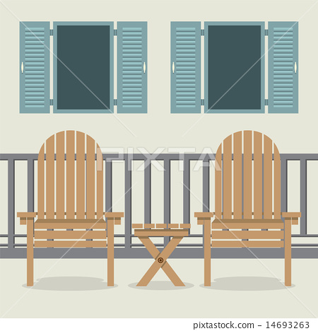 House Patio With Garden Chairs And Open Windows 14693263