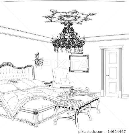 Sketch Of Retro Bedroom Interior Design Stock Illustration 14694447 Pixta