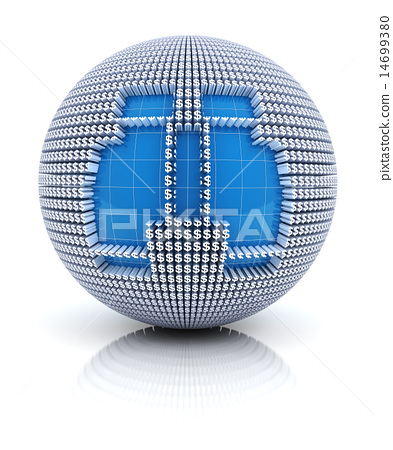 Binoculars icon on globe formed by dollar sign, 3d render 14699380