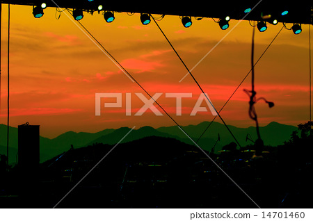multiple spotlights on a theatre stage lighting  14701460