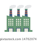 Factory Building With Smoke Stacks 14702074