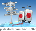 Travel concept. Suitcases and signpost  14708782