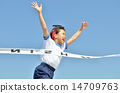 Girls running in the blue sky (gym clothes, goal tape) 14709763