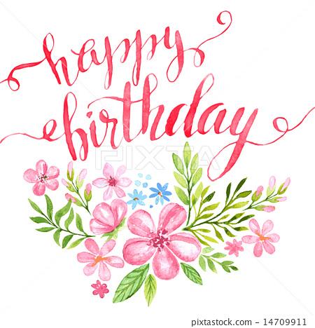 Happy Birthday Hand-drawn card. Vector illustration 14709911
