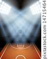 Background for posters night basketball stadium in the spotlight. 14715464