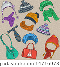 vector set hipster winter warm knitted hats 14716978