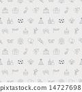 Birthday line icon pattern set 14727698