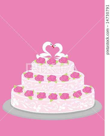 Wedding cake with roses and pair of in love swans 14730791