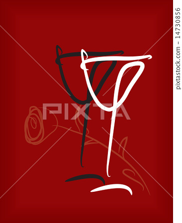 two wineglasses black and white with a rose on a  14730856