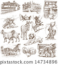Bulgaria travel - An hand drawn pack on white 14734896
