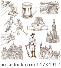 Germany travel - An hand drawn pack on white 14734912