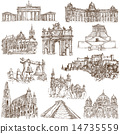Architecture - Hand drawings on white 14735559