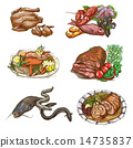 Food around the World. Colored drawings on white. 14735837