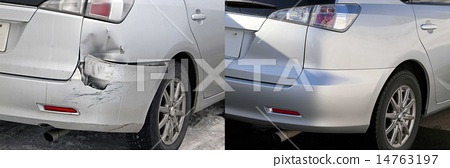Before and after repair of a car 14763197