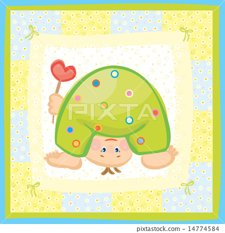 Stock Illustration: Vector funny baby boy greeting card.