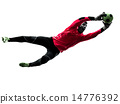 caucasian soccer player goalkeeper man catching ball silhouette 14776392