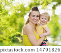 Portrait of smiling mother and baby girl outdoors 14791826
