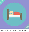Icon, Button, Pictogram with Hotel, Lodging symbol 14800691