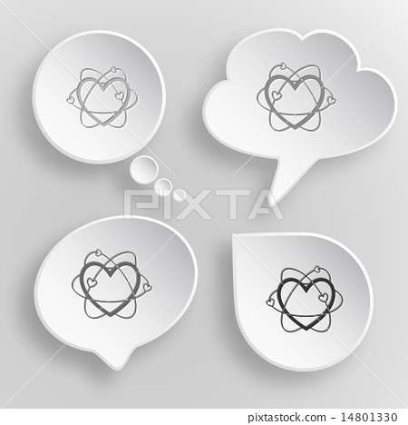 Atomic heart. White flat vector buttons on gray background. 14801330