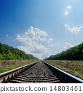 railroad to horizon in green landscape 14803461
