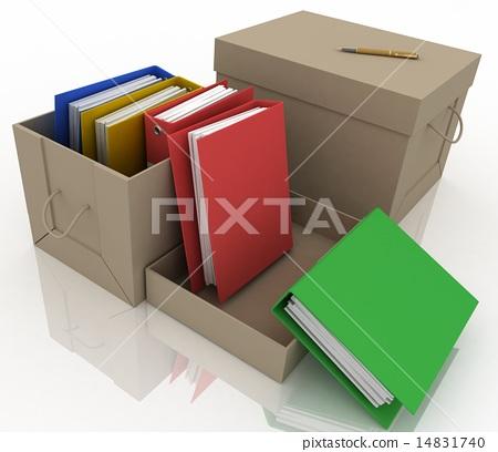 office folders in cardboard box on white backgroun 14831740