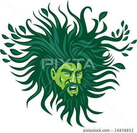 Green Man Head Hair Flowing Leaves Cartoon 14838852