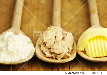 baking ingredients butter, yeast and meal 14848919