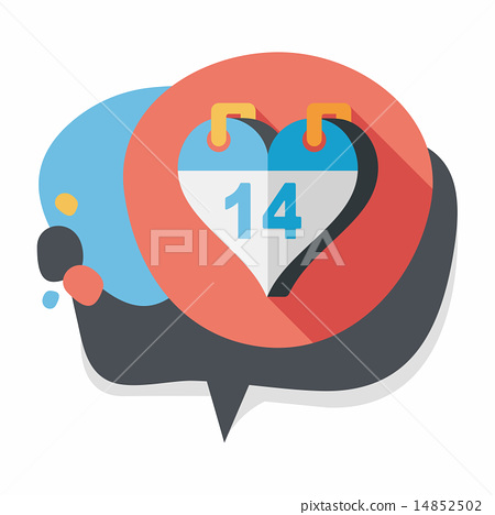 Valentine's Day February fourteen flat icon with long shadow,eps 14852502