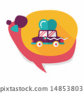 wedding car flat icon with long shadow, eps10 14853803