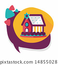 Gingerbread house flat icon with long shadow,eps10 14855028