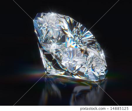 Diamond on black reflective background 14885125