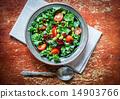 Kale and edamame salad on rustic background 14903766