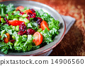 Kale and edamame salad on rustic background 14906560