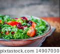 Kale and edamame salad on rustic background 14907030