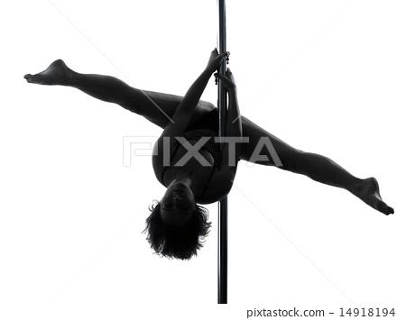 woman pole dancer silhouette 14918194