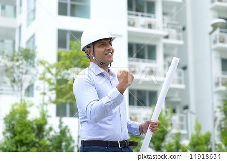 Successful young Indian construction engineer 14918634