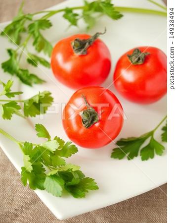 Flutica tomato and Italian parsley (high angle) 14938494