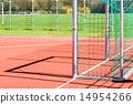 Empty outdoor handball goal 14954266