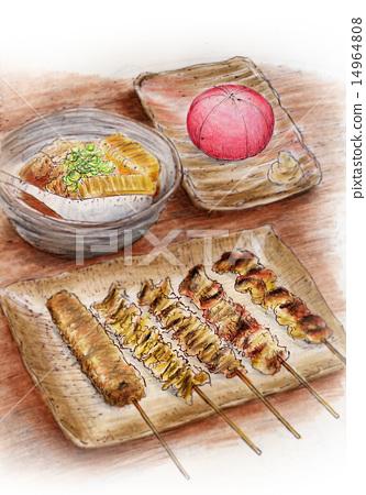 Food illustration ~ Yakitori · Salad 14964808