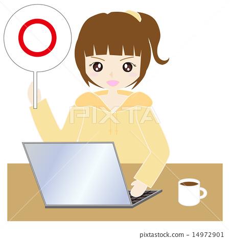 집에서 컴퓨터를하는 여성 14972901