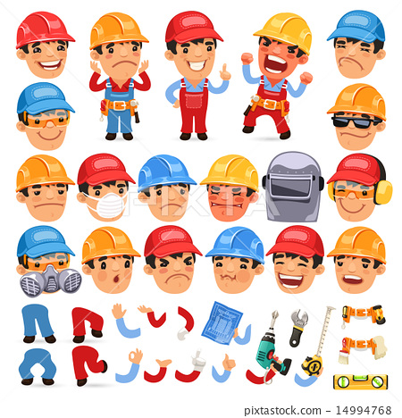Set of Cartoon Worker Character for Your Design or Aanimation 14994768