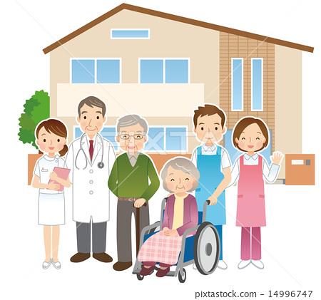 老人,醫生和照顧者養老院 14996747