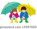 儿童用伞抓住两个人白背 14997690