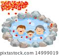 온천욕을 마친 부모와 자식 3 세대 _ 단풍 14999019