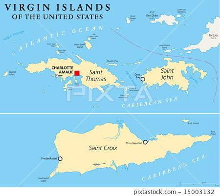 United States Virgin Islands Political Map - Stock Illustration ...